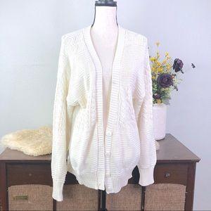 Vintage 80's 90's acrylic cardigan sweater white